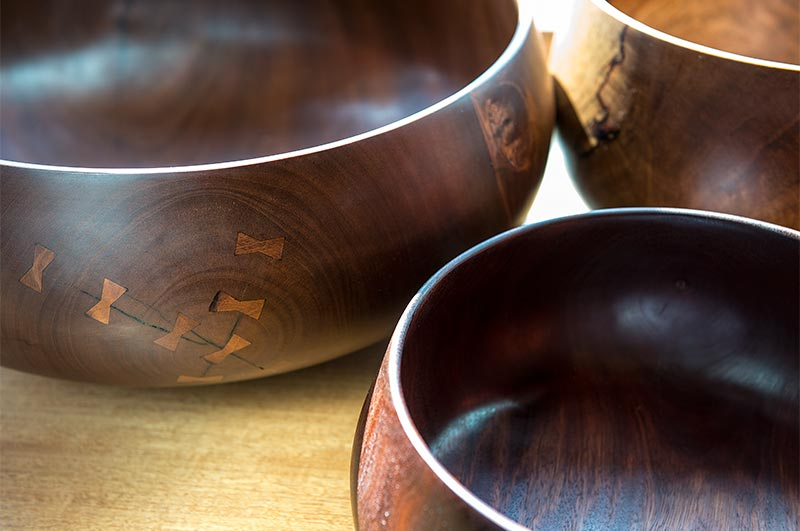 Detail of fine wood handcrafted bowls.