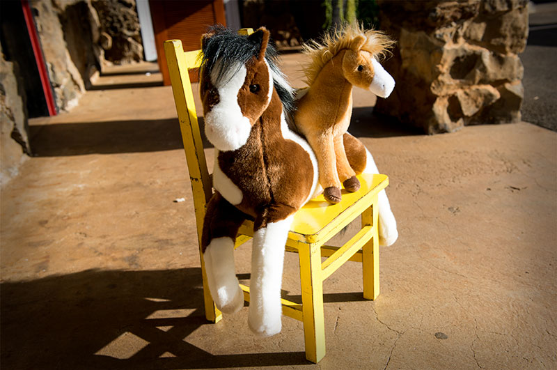 Two Douglas stuffed horses sitting on a little yellow chair