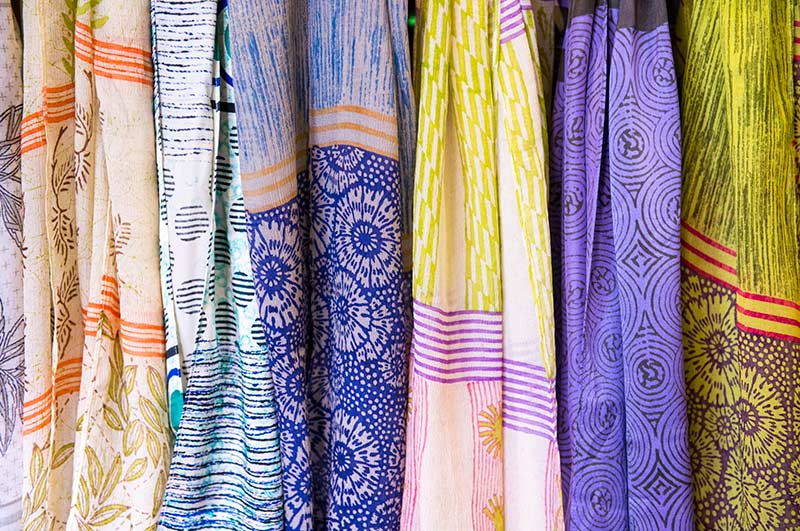 Colorful patterns of scarves.