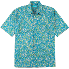 A teal Aloha shirt from Tori Richard with fish print