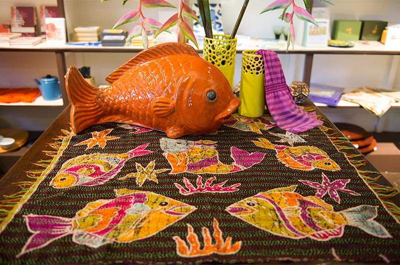 Asian Eye handmade tropical fish textile.