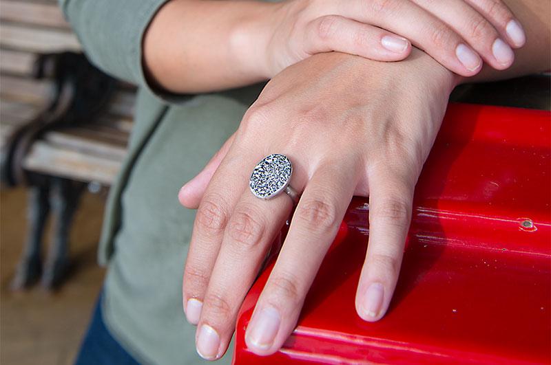 Emily Amey platinum drusy ring.