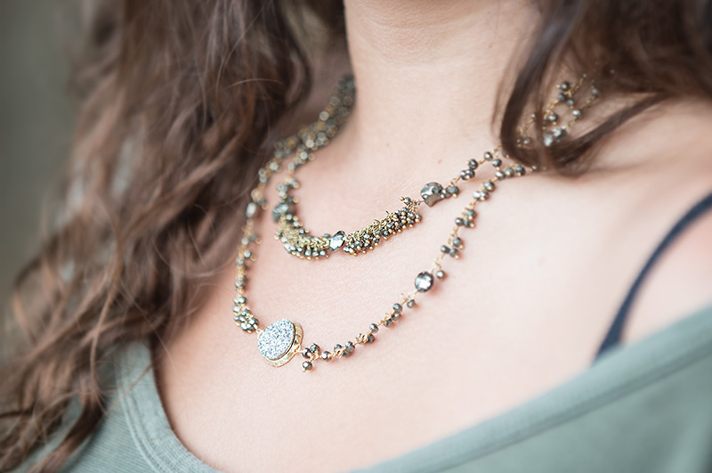 Fools Gold, Pyrite, necklace by Mary Lousie Design.