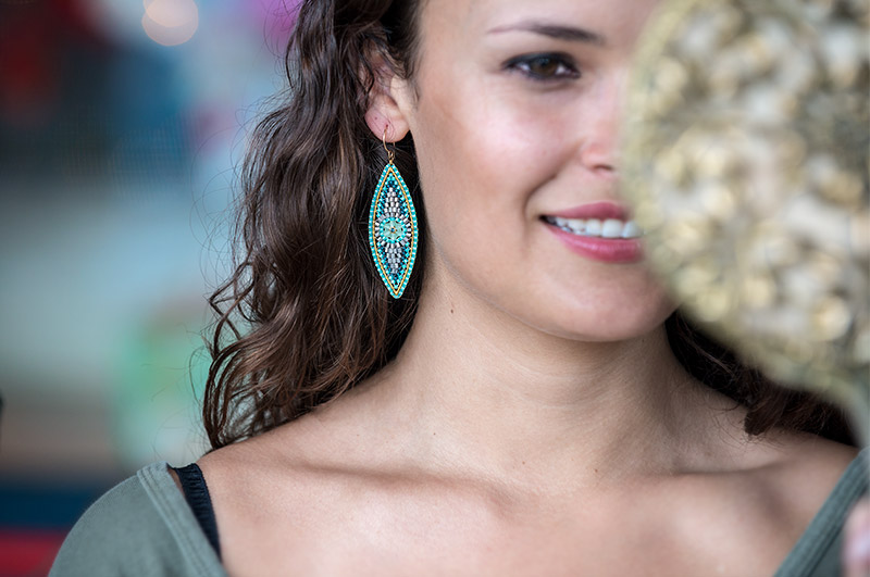 Blue quartz crystal earring by Miguel Ases.