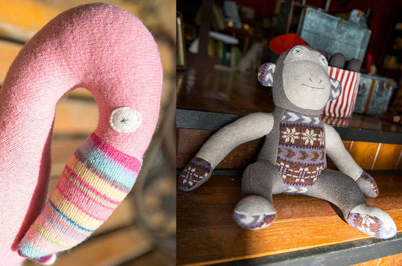 Photos of Cate & Levi Stuffed Monkey and Flamingo