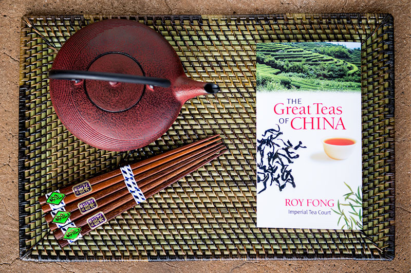 Cast Iron teapot, chopsticks and The Great Teas of China Book