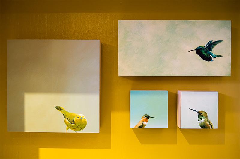 Birch Panel Print of Yellow Warbler