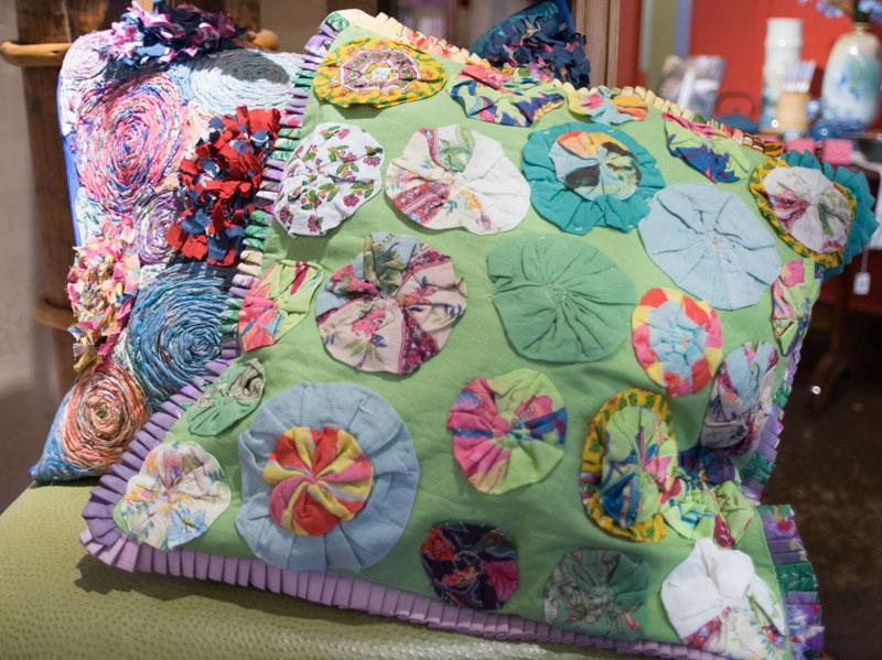 Bright colored materials make up a fun Handprint pillowcase.