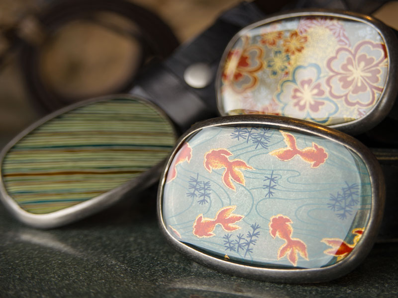 Detail of Susan Flemming resin belt buckles.
